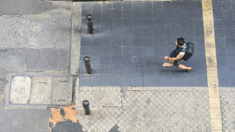 The top aerial view of people walk on the city pedestrian walkway street building royalty free stock images