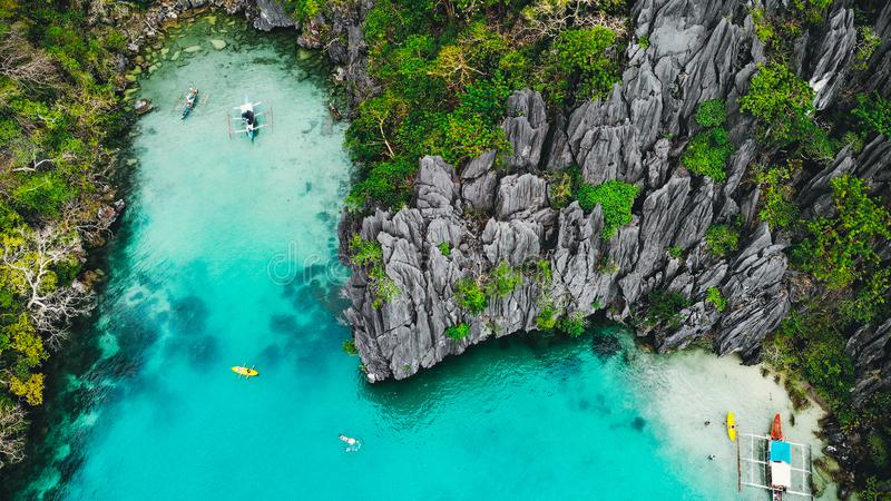 Top aerial view of secret beach karst scenery. El Nido,. Palawan, Philippines stock images