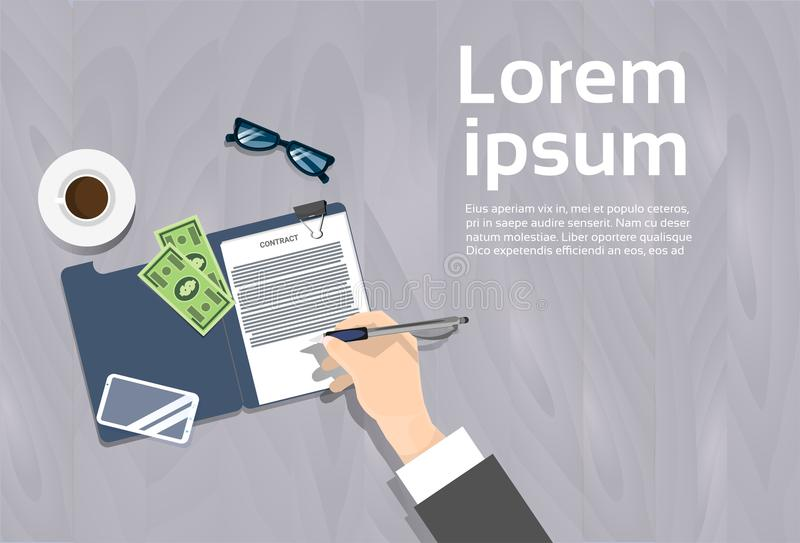Top Angle View Of Business Man Signing Contract Document. Workplace Banner With Copy Space Flat Vector Illustration stock illustration