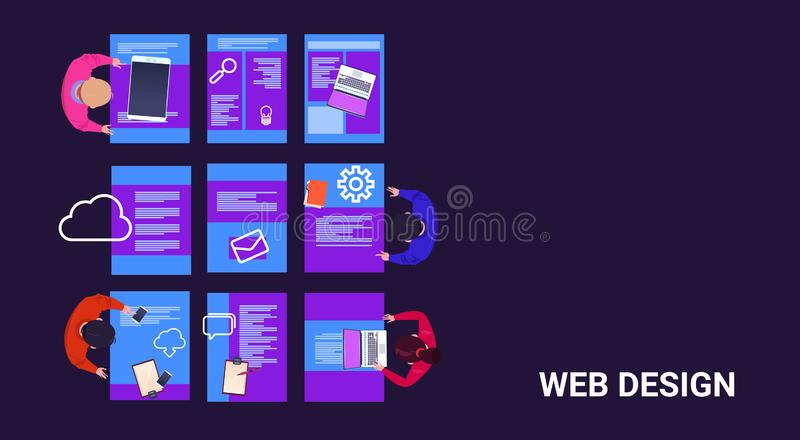 Top angle view group of diverse people brainstorming gadgets web design, working and responsive network website ideas. Media information concept vector royalty free illustration