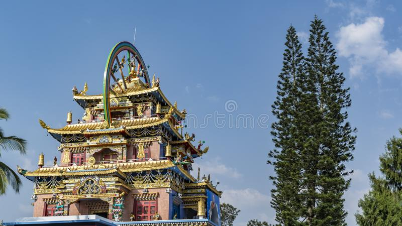 Side view of the Indo-tibet buddist temple at Bylakuppe royalty free stock photos