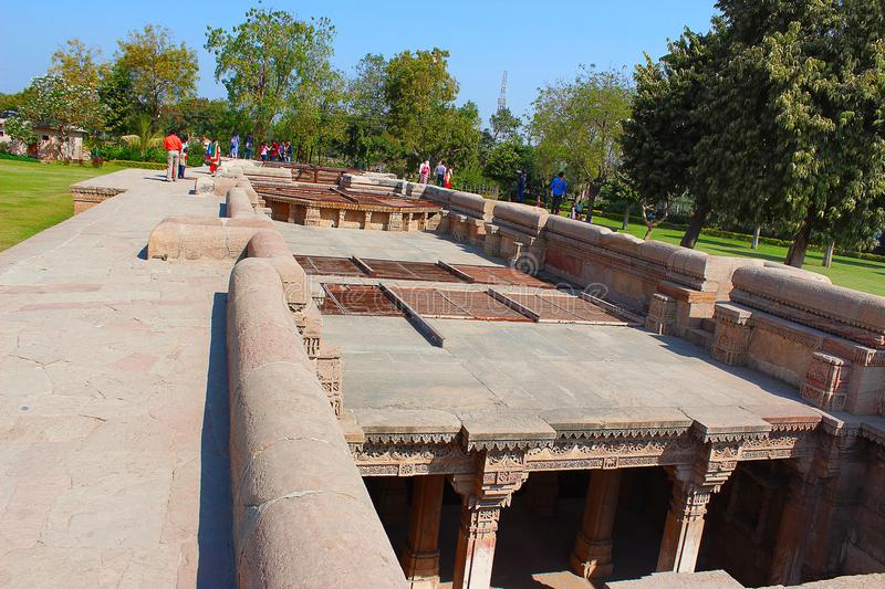 The top area above Adalaj Step Well, Ahmedabad, Gujarat stock image
