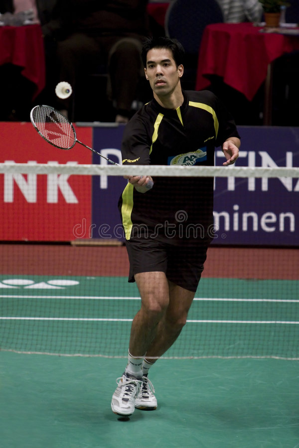 Top Badminton Player Eric Pang. Of the Netherlands, at the Dutch Badminton Chamionships 2009 in Almere royalty free stock image