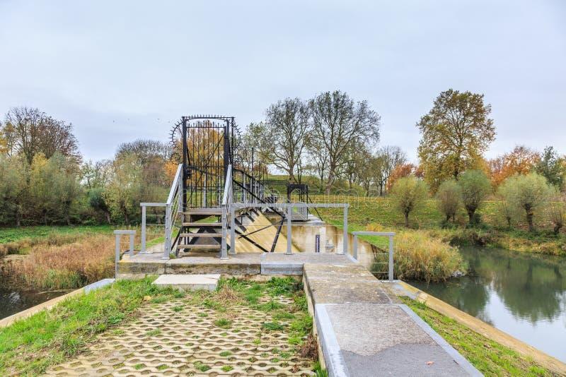 Part of Historical Dutch defense line, Nieuwe Hollandse Waterlinie,. On top of Beersluis, Inlet sluice of Fort Everdingen for the flooding of the Nieuwe royalty free stock images
