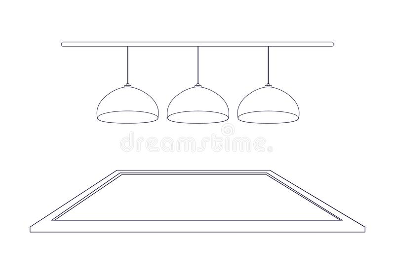 Top billiard boards and hanging ceiling lamps in the style of outline. Vector illustration.  royalty free illustration