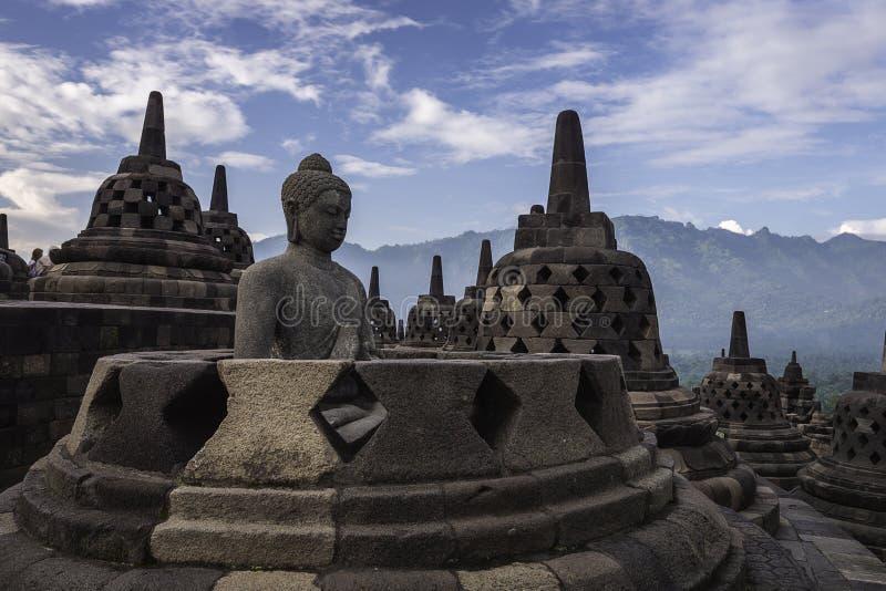 Buddha & Stupa At The Top of Borobudur Temple stock images