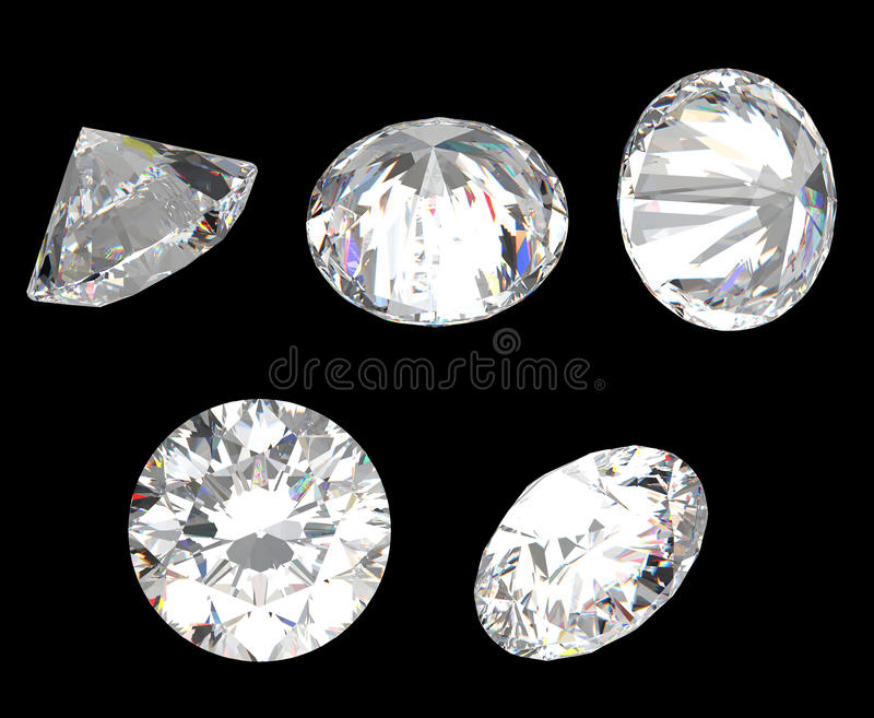 Top, Bottom And Different Side Views Of Diamond Royalty Free Stock Photos