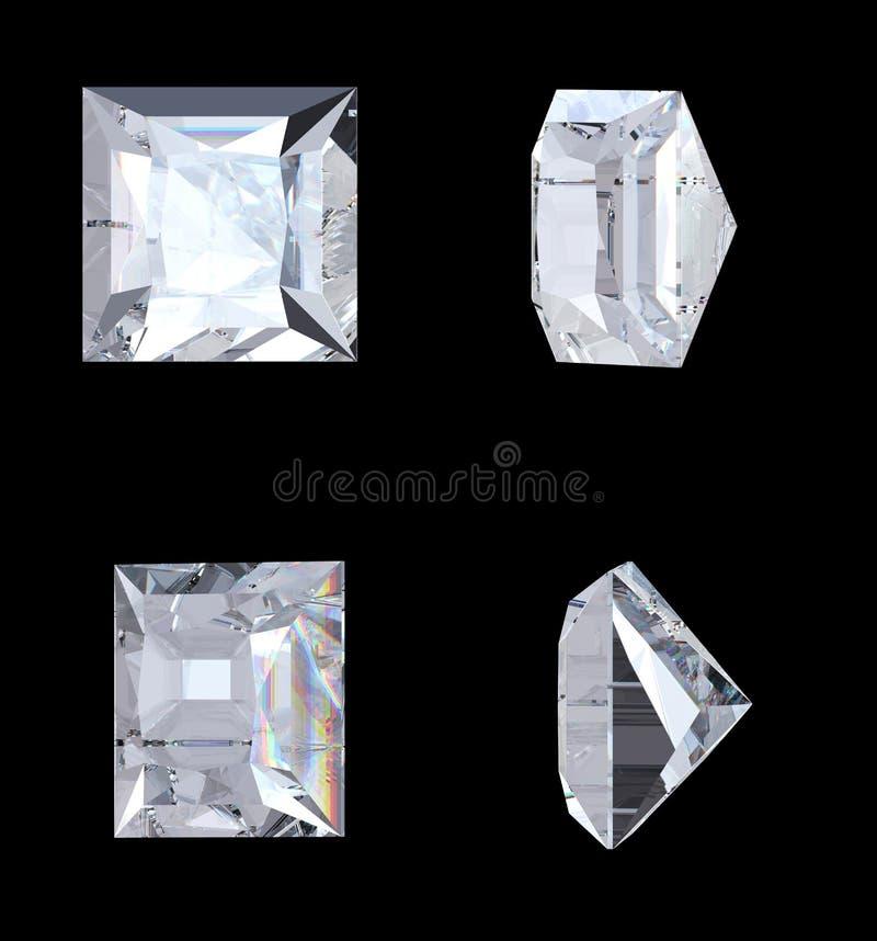 Download Top Bottom And Side Views Of Princess Diamond Stock Illustration - Illustration of brilliant, closeup: 15128492