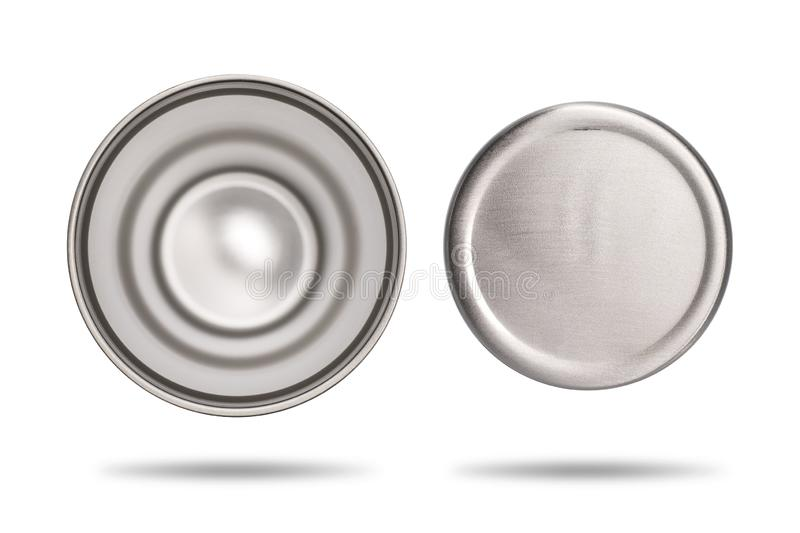 Top and bottom view of stainless cup for your design. Steel mug on white background. Large water bottle for keeping temperature. Clipping paths stock images