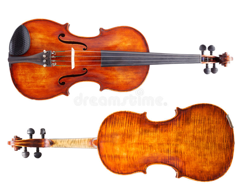 Top and bottom view of a violin. Isolated on white royalty free stock images