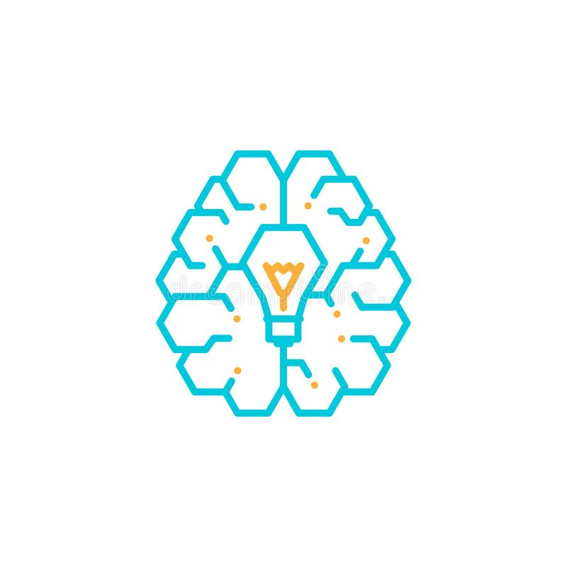 Top Brain logo icon with Incandescent light bulb symbol, Creative idea concept editable stroke design illustration grey and orange. Color isolated on white royalty free illustration