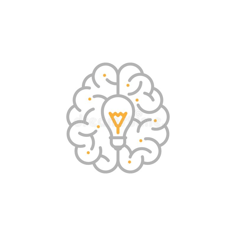 Top Brain logo icon with Incandescent light bulb symbol, Creative idea concept editable stroke design illustration grey and orange. Color isolated on white vector illustration