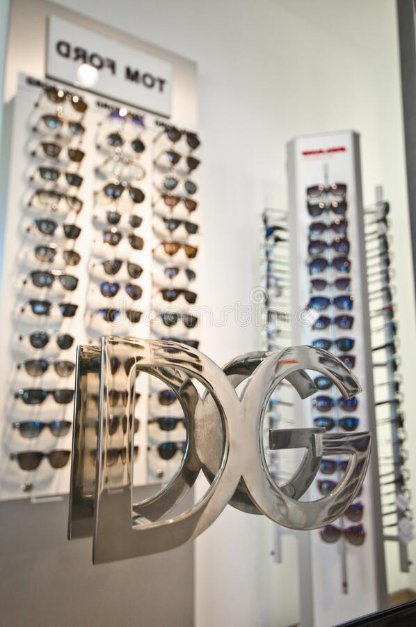 Top brands of eyewaer in optician salon in Poland stock images