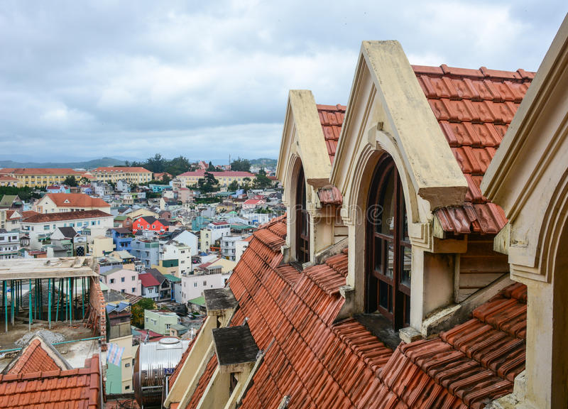 Top of the brick palace at downtown in Dalat city, Lam province, Vietnam.  royalty free stock images