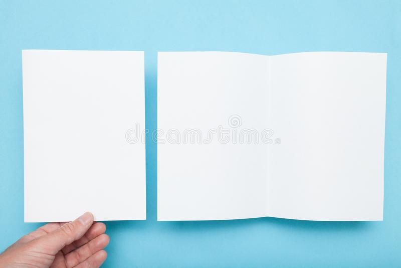 A5 top brochure mockup, fold magazine.  royalty free stock photos