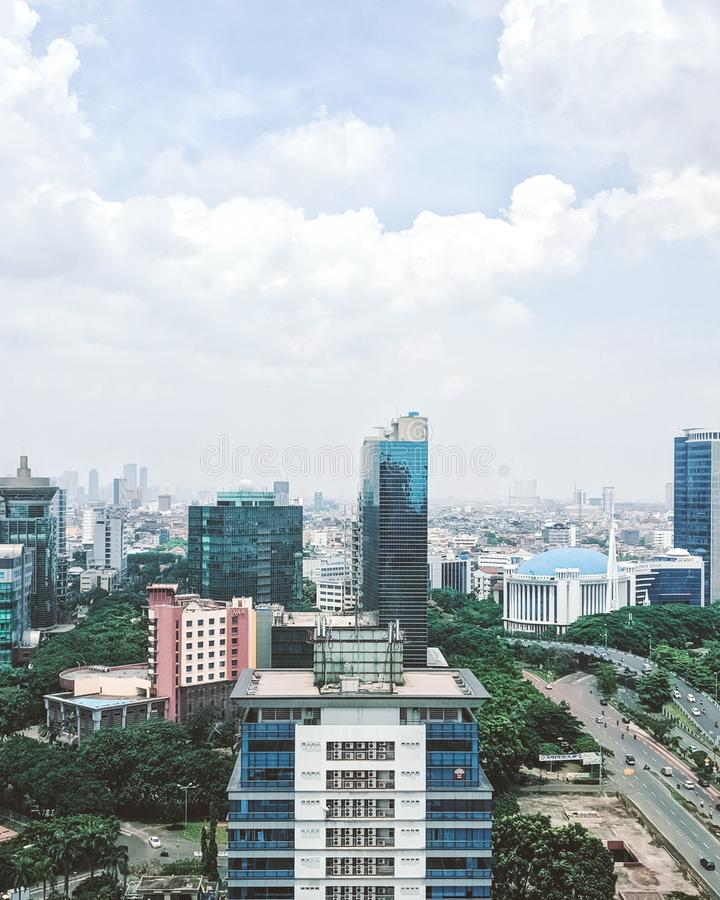 On top of building in jakarta stock photos