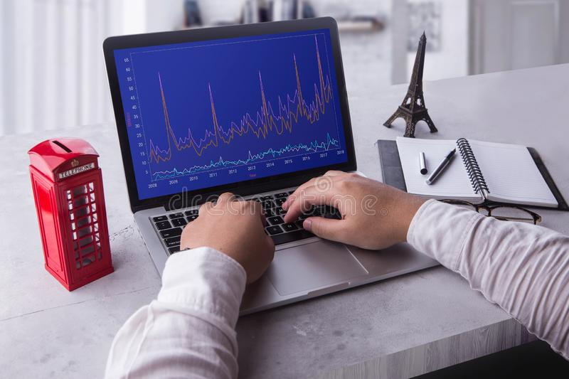 Top of businessman using laptop computer with stock chart market on screen. royalty free stock photos