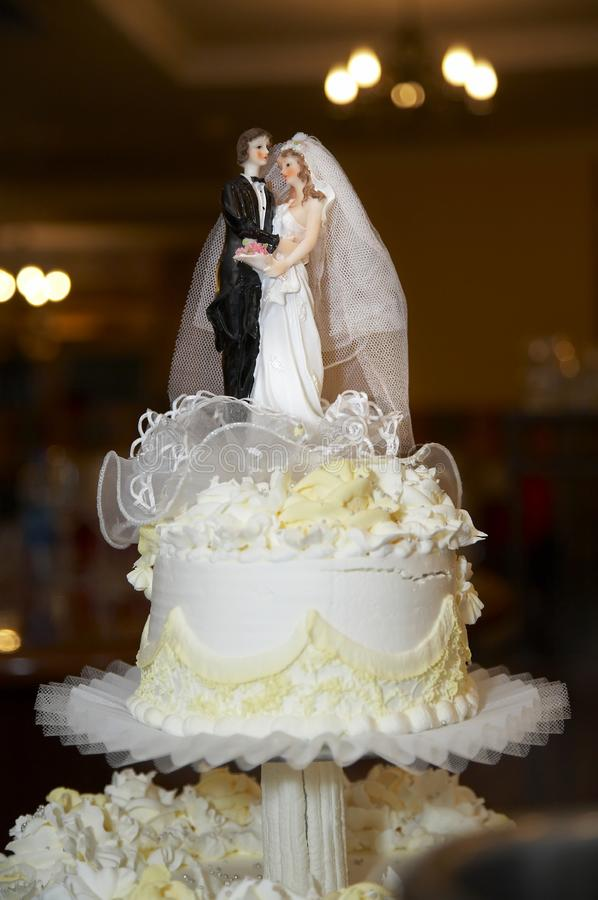 Top of cake at wedding stock image