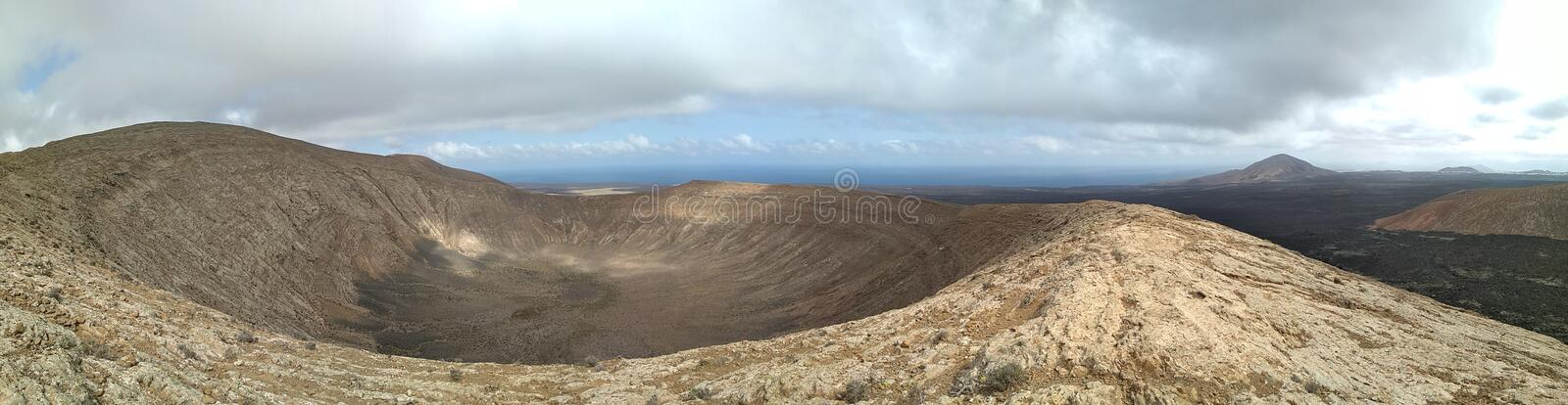 Volcano. On the top of Caldera Blanca royalty free stock images