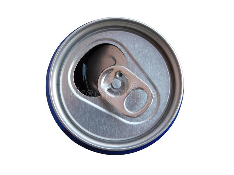 The top of the can for drink. Isolated on the white background royalty free stock photos