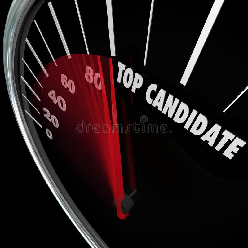 Top Candidate Most Popular Choice Nominee Election Voting. Top Candidate words on a speedometer tracking the popularity of a choice in an election for president stock illustration