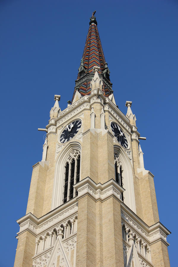 Top of cathedral in Novi Sad. Cathedral in Novi Sad viewed from the bottom up royalty free stock photos