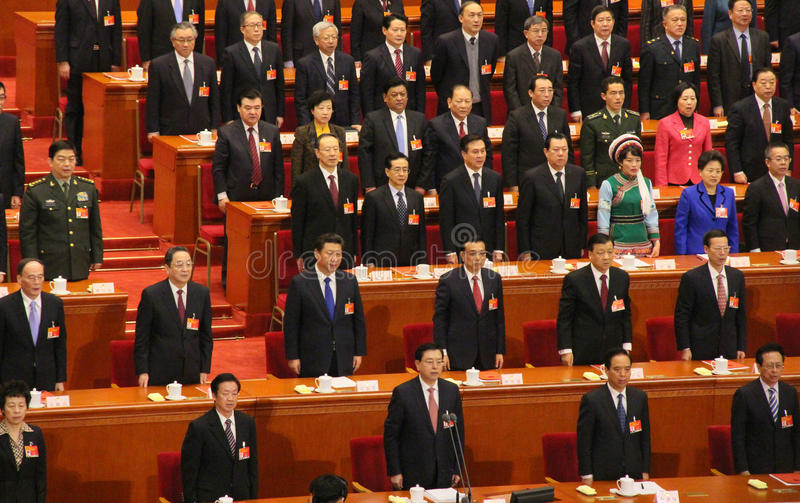 Top Chinese leaders attending parliament meeting stock photos