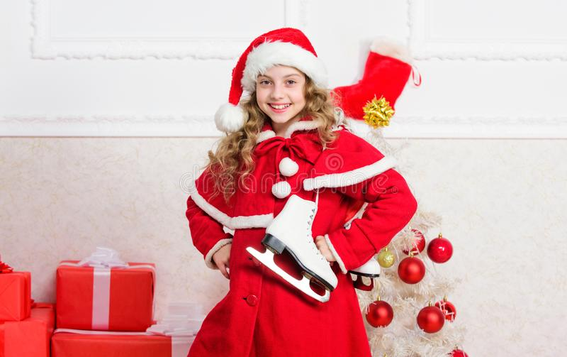 Top christmas celebration ideas. Winter holidays concept. Enjoy christmas holidays. Child red santa costume ready to stock images
