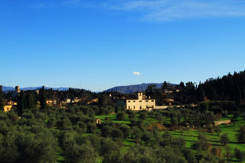 Top City View of Florence with Natural Villages in Background royalty free stock photo