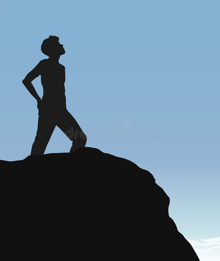 Top of the Cliff. Person standing at the top of a cliff royalty free illustration