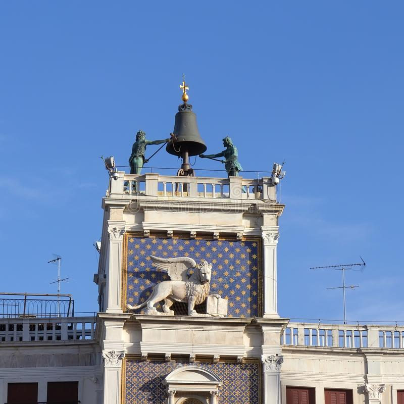 Top of Clock Tower at St Mark`s square in Venice stock image