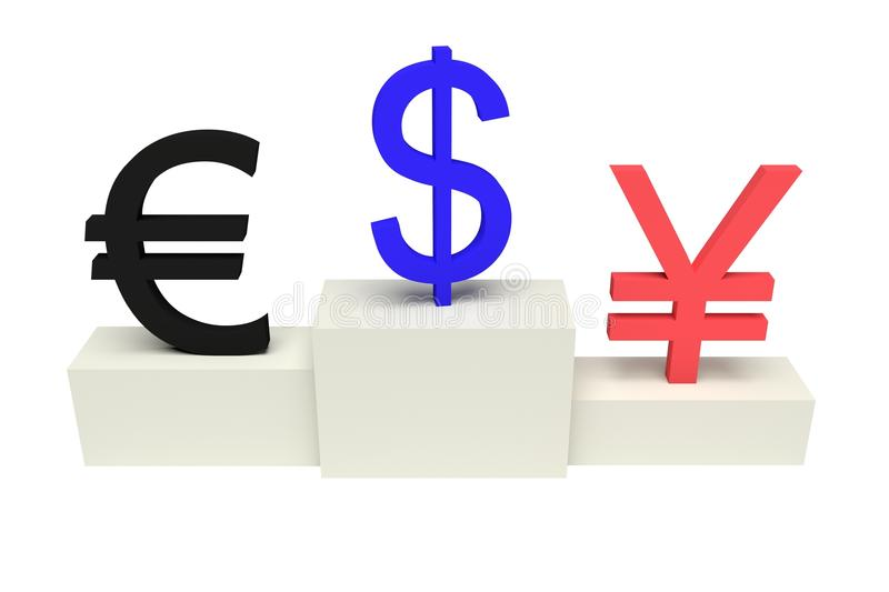 Top currencies, strong US Dollar, isolated. On white background royalty free illustration