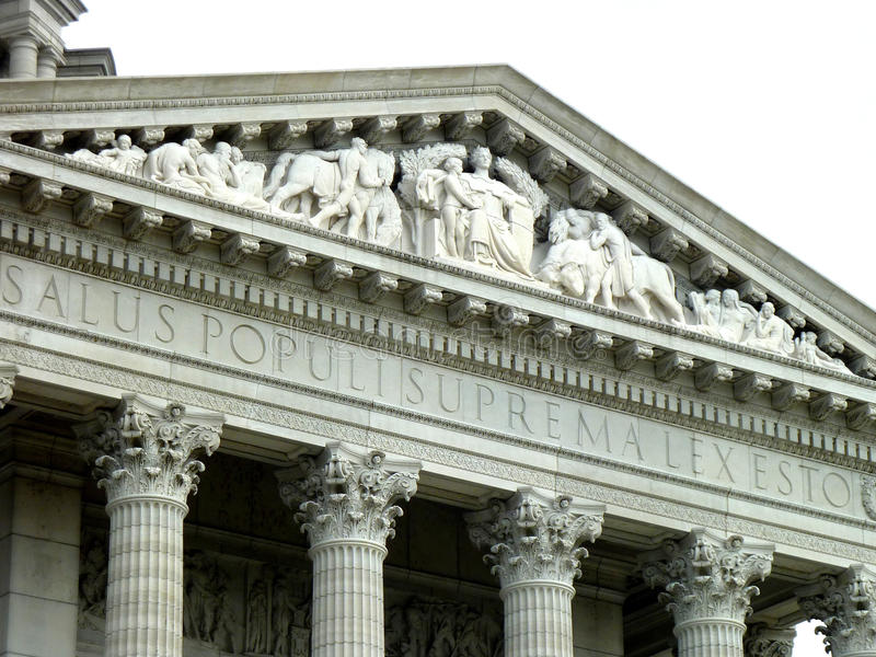 Top de Jefferson City Capitol Building Frieze imágenes de archivo libres de regalías