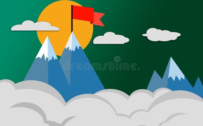 Top de la montaña con la bandera roja, concepto del éxito libre illustration