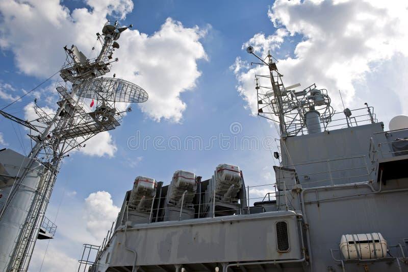 Top deck of a battleship stock photography