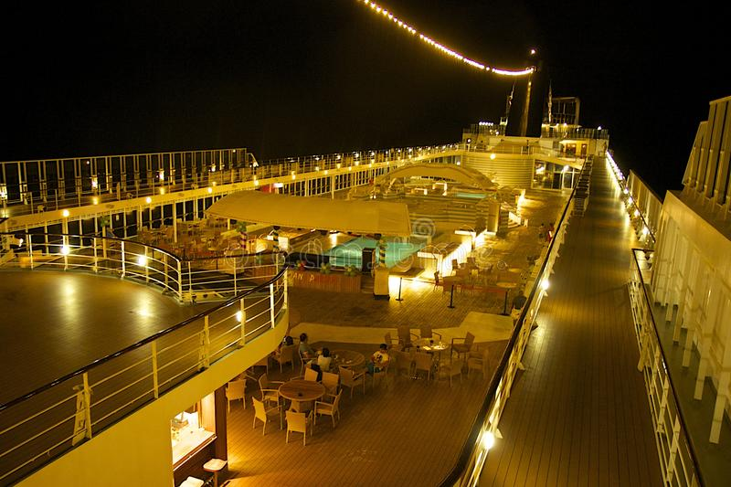 Top deck of a cruise ship at night stock photography