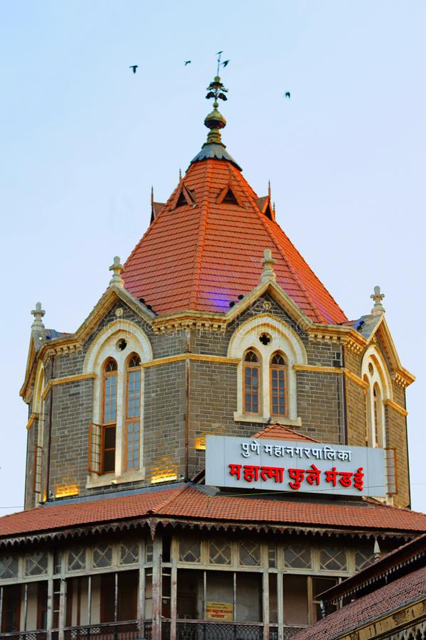Top del mercado para las frutas y verduras, Pune de Mahatma Jyotiba Phule foto de archivo