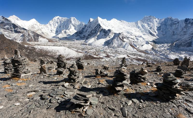 Top del soporte Makalu, Kali Himal, montaña hermosa foto de archivo libre de regalías