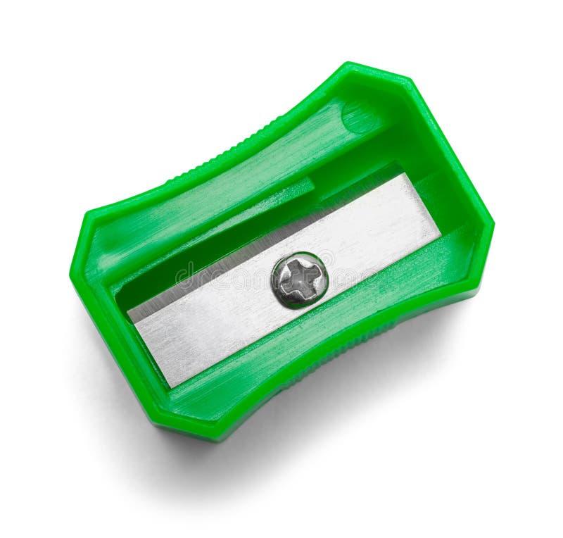 Top del verde de los sacapuntas de lápiz imagenes de archivo