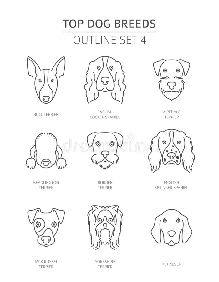Free Top Dog Breeds. Pet Outline Collection Royalty Free Stock Photos - 130046918