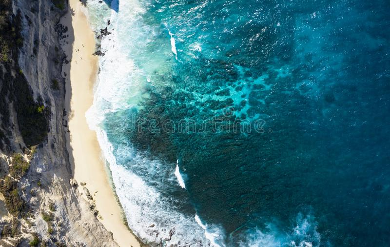 Top Down Aerial Shot Of Diamond Beach Thousand Islands at Nusa Penida, Bali - Indonesia stock images