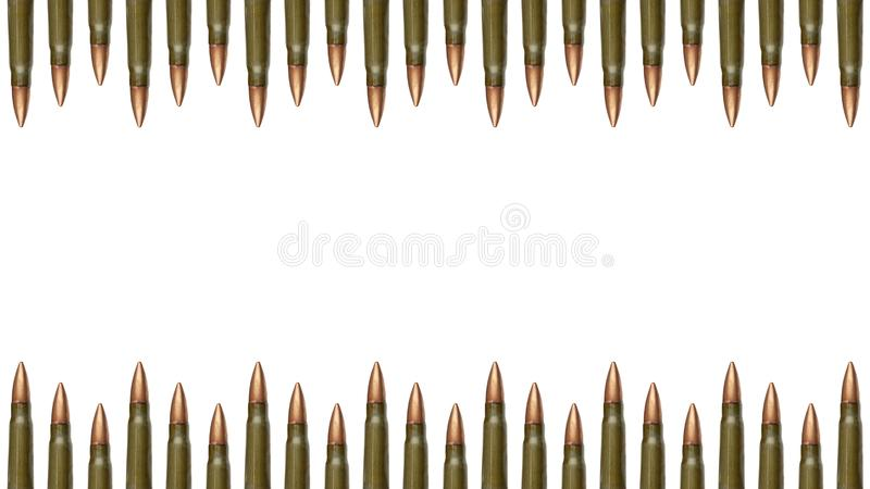 Top and down bullets borders isolated on white background. 7.62 mm cartridges for a Kalashnikov assault rifle.  royalty free stock photos