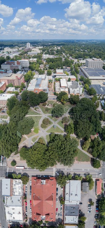 Top Down Drone still of Nash Square in Raleigh, NC. Drone Pic of Nash Square, Rooftops, streets and city life; downtown Raleigh, NC royalty free stock photo