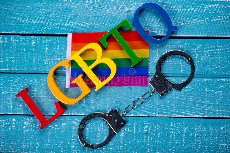 Top down photo of Gay Pride concept stock photography