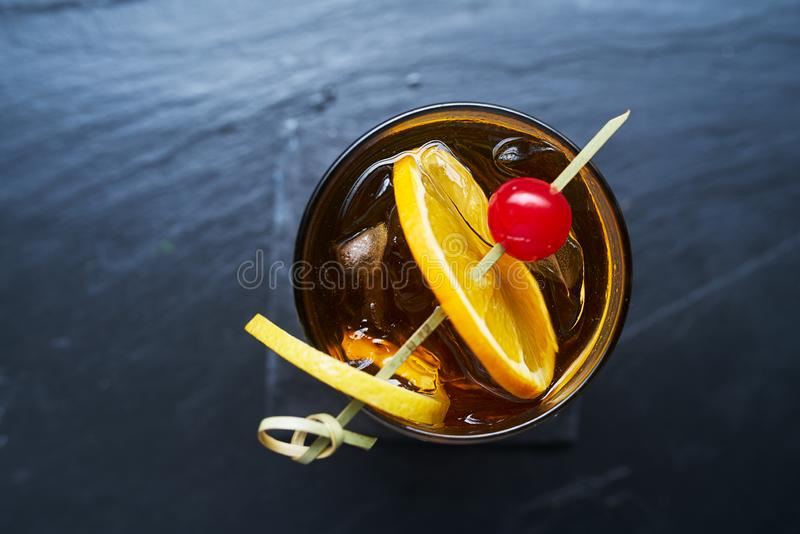 Top down photo of a old fashioned classic cocktail royalty free stock image