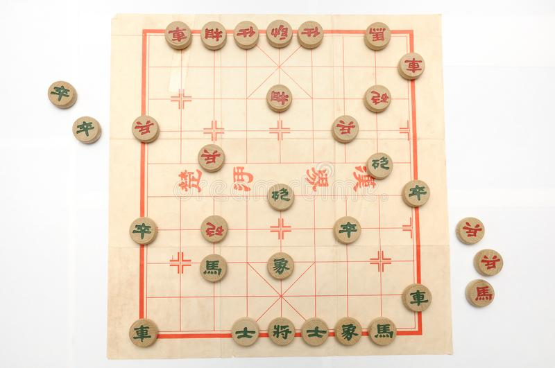 A game of chinese chess in progress stock images