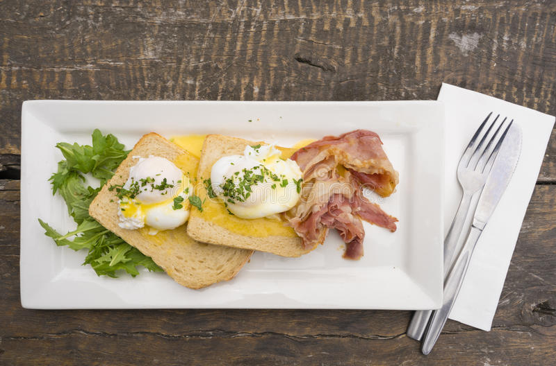 Top down view of breakfast. With bacon, bread, eggs and salad royalty free stock photos