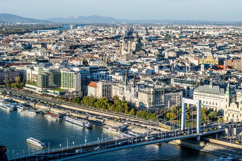 Budapest, ships at the Danube pier, Elisabeth Bridge. Top-down view of busy Danube pier and Pest panorama. Weekend trip to the capital of Hungary in warm autumn royalty free stock images
