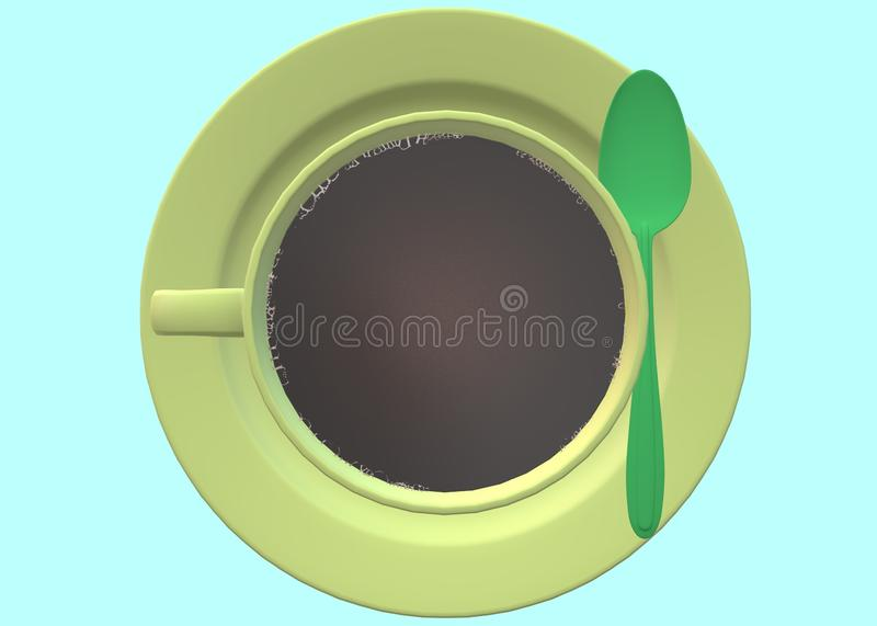Top down view of a cup of hot black coffee royalty free stock images