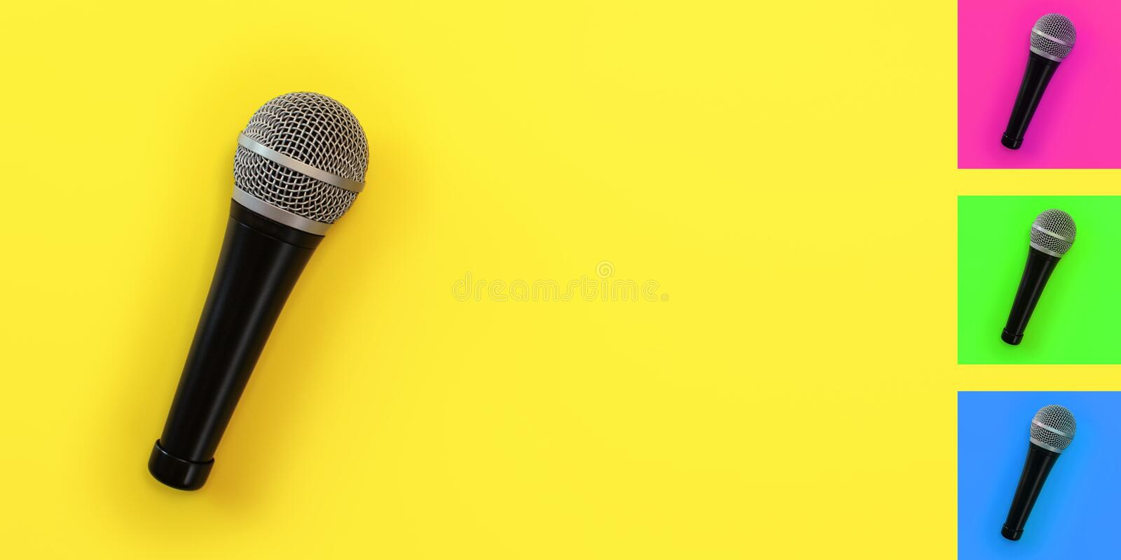 Top down view, microphone on yellow board with space for text on right. Background colour can be easily changed with hue/. Saturation tool royalty free stock images
